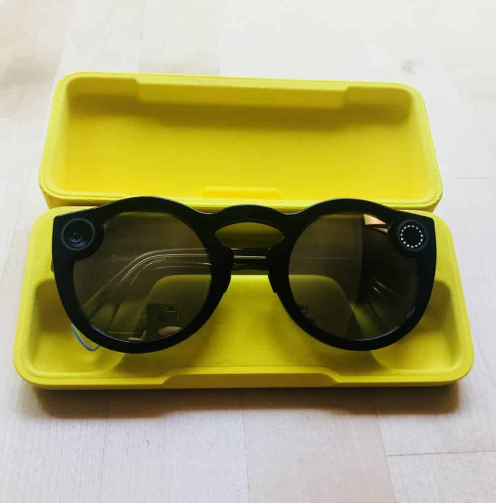 Snapchat Spectacles V2 in the portable charging case