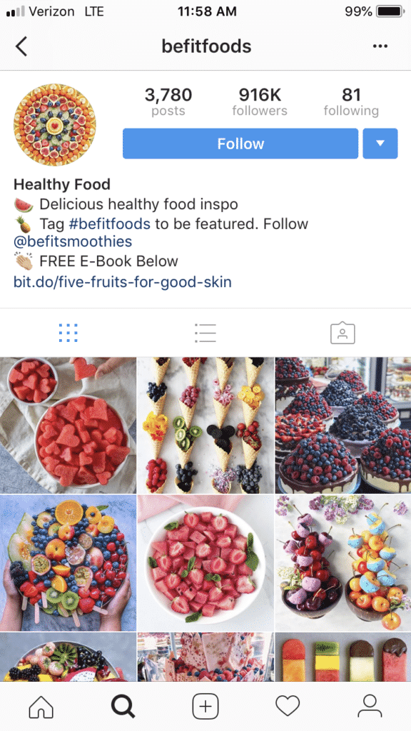 befitfoods Instagram accounts