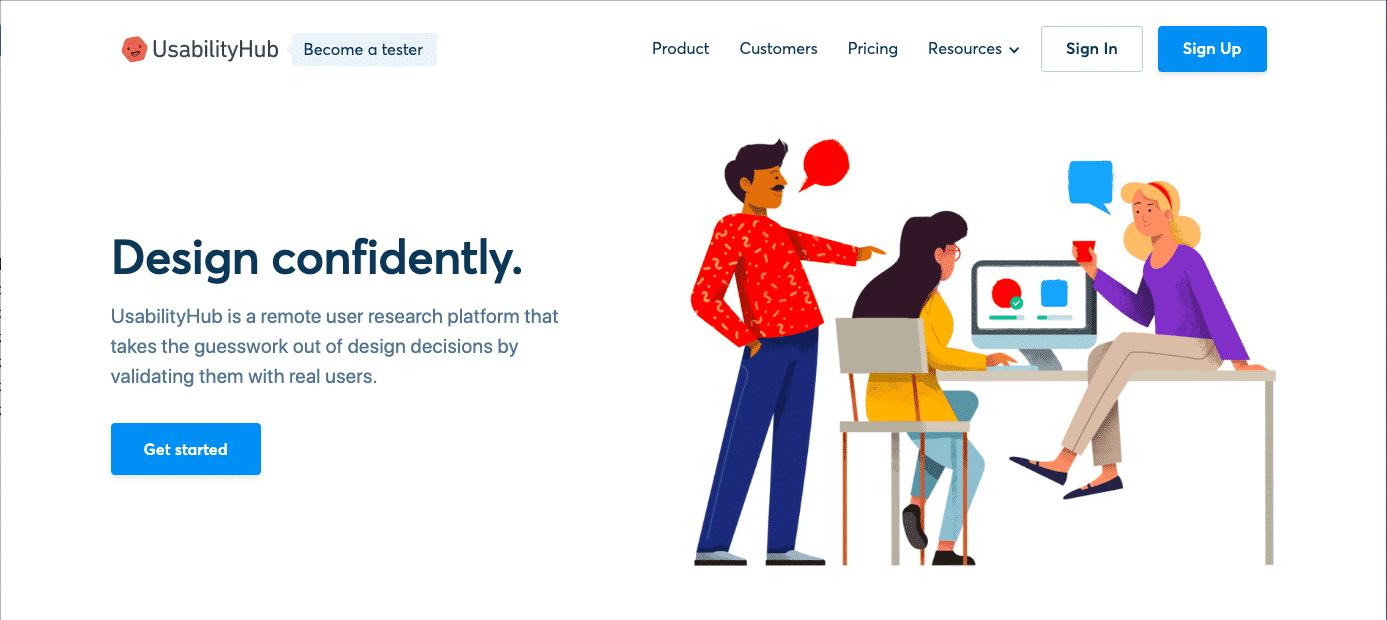usability hub usability testing tool homepage