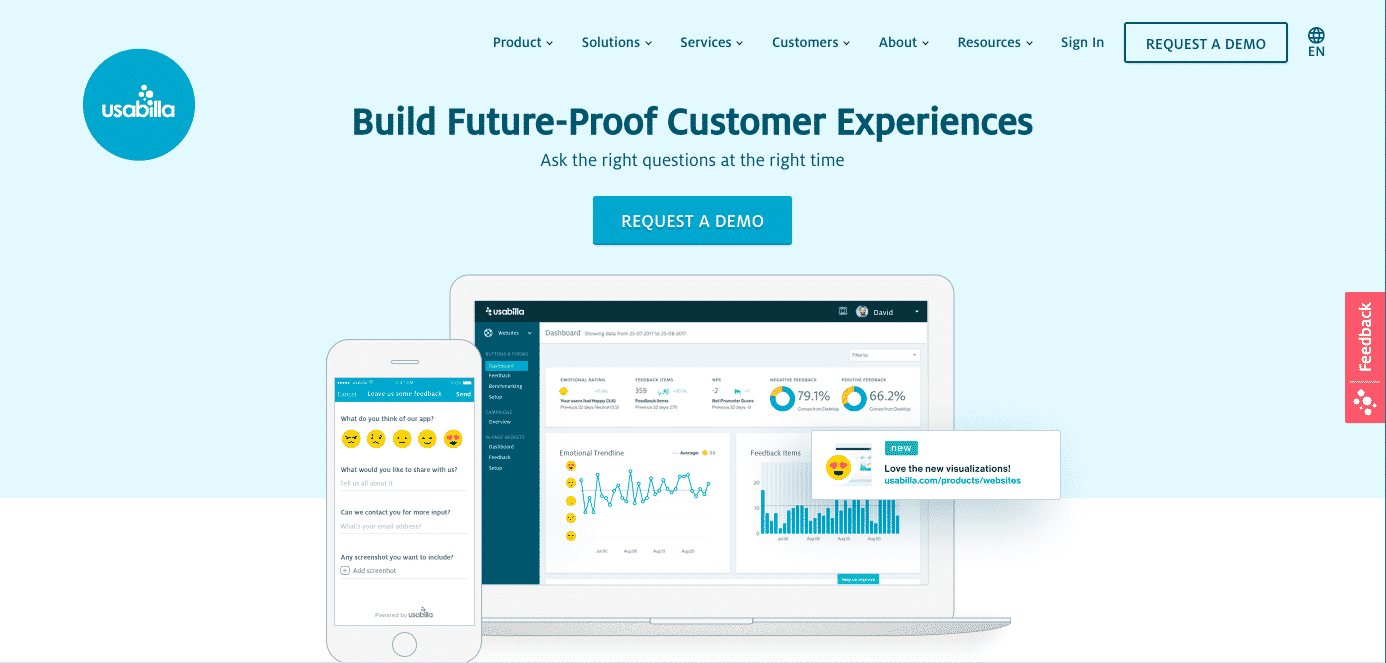 usabilla usability testing tool homepage