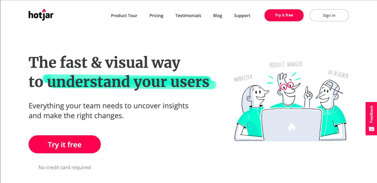 hotjar usability testing tool homepage