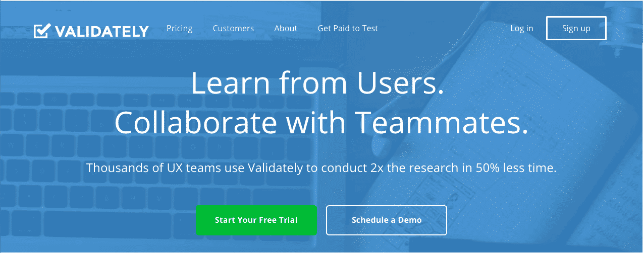 validately usability testing tool homepage