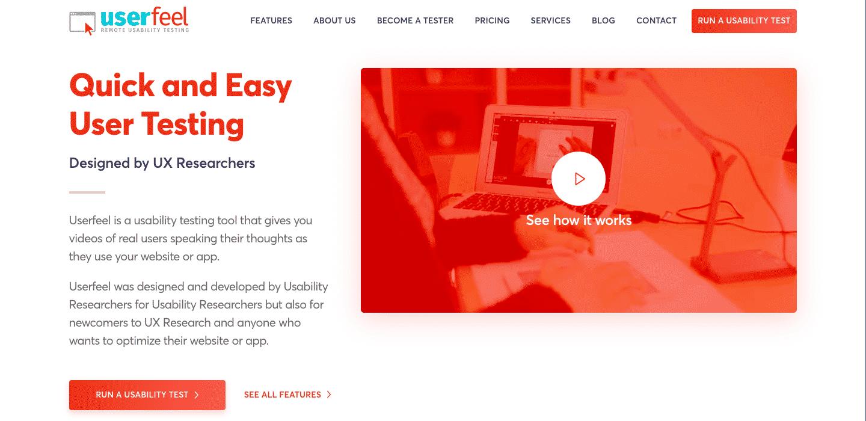 userfeel usability testing tool homrpage